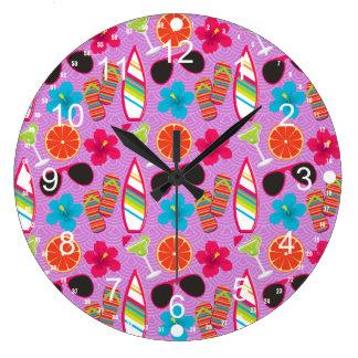 Beach Party Flip Flops Sunglasses Beachball Purple Large Clock