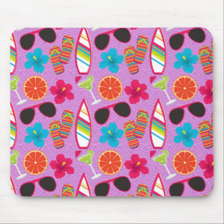 Beach Party Flip Flops Sunglasses Beachball Purple Mouse Pad