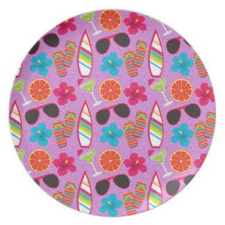 Beach Party Flip Flops Sunglasses Beachball Purple Dinner Plates
