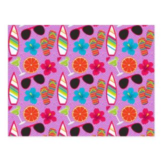 Beach Party Flip Flops Sunglasses Beachball Purple Postcard