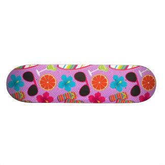 Beach Party Flip Flops Sunglasses Beachball Purple Skateboard Deck