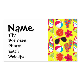 Beach Party Flip Flops Sunglasses BeachBall Yellow Double-Sided Standard Business Cards (Pack Of 100)