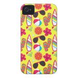 Beach Party Flip Flops Sunglasses BeachBall Yellow iPhone 4 Cases