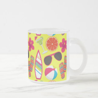 Beach Party Flip Flops Sunglasses BeachBall Yellow Frosted Glass Coffee Mug