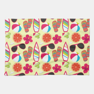 Beach Party Flip Flops Sunglasses BeachBall Yellow Hand Towel