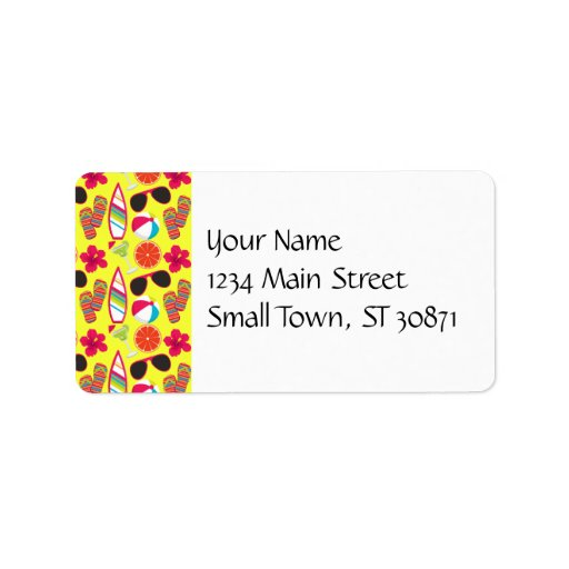 Beach Party Flip Flops Sunglasses BeachBall Yellow Personalized Address Labels