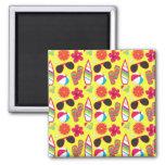 Beach Party Flip Flops Sunglasses BeachBall Yellow Refrigerator Magnets