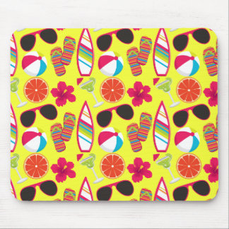 Beach Party Flip Flops Sunglasses BeachBall Yellow Mouse Pad