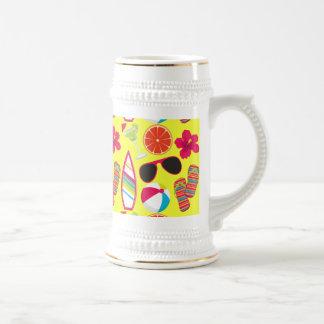 Beach Party Flip Flops Sunglasses BeachBall Yellow 18 Oz Beer Stein