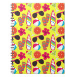 Beach Party Flip Flops Sunglasses BeachBall Yellow Notebooks