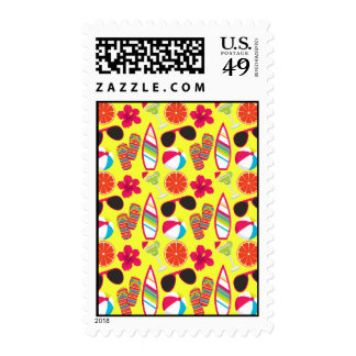 Beach Party Flip Flops Sunglasses BeachBall Yellow Postage Stamps