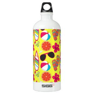 Beach Party Flip Flops Sunglasses BeachBall Yellow Water Bottle