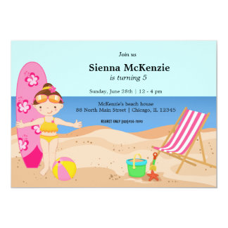 """Beach Party (Girl) 5"""" X 7"""" Invitation Card"""