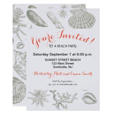 Beach Themed Beach Party Invitation Art Print Seashell Template