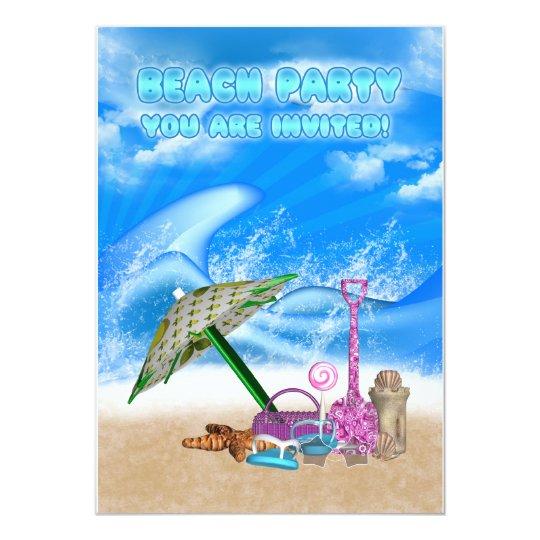 beach party invitation card - fun beach party invi