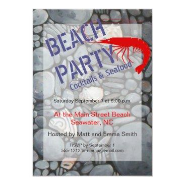 Beach Themed Beach Party Invitation Customizable Template
