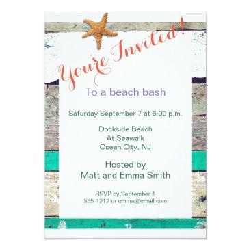 Beach Themed Beach Party Invitation Rustic Starfish Template