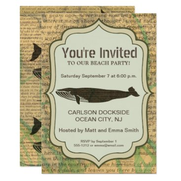 Beach Themed Beach Party Invitation Whale Nautical Rustic Art