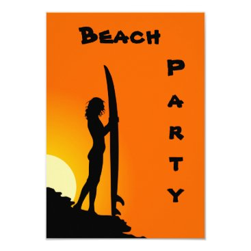 Beach Themed Beach Party Invitations, surfer, orange and black Card