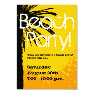 Beach party invitations with palm sunset
