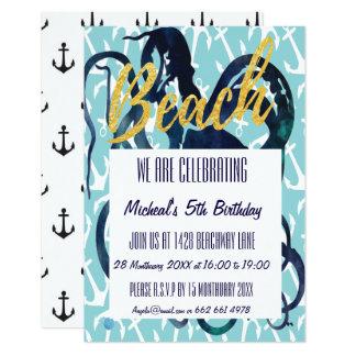 Beach Party Invite Octopus