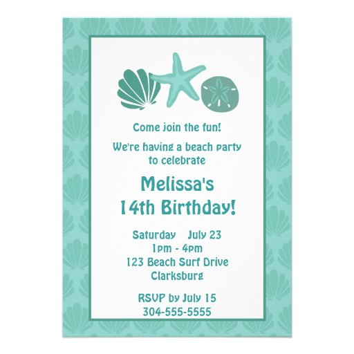 Beach Party Personalized Invites