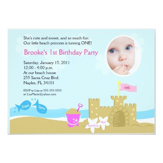 Beach Party Sand Castle 5x7 PHOTO Invitation