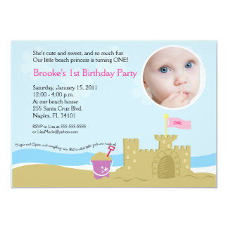 Beach Party Sand Castle 5x7 PHOTO Invitation