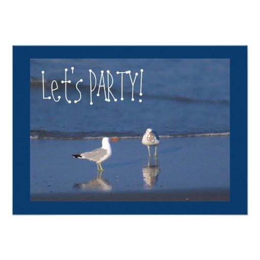 Beach Party Seagulls! Custom Announcements
