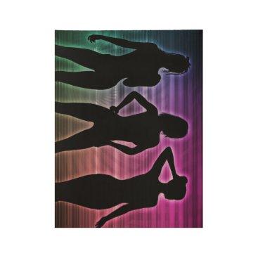 Beach Party Silhouette of Women Standing in Bikini Wood Poster