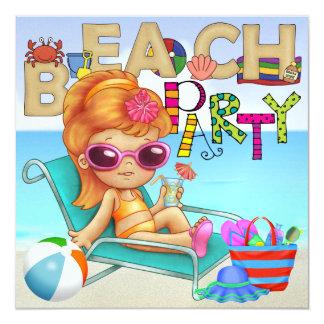 Beach Party - SRF 5.25x5.25 Square Paper Invitation Card