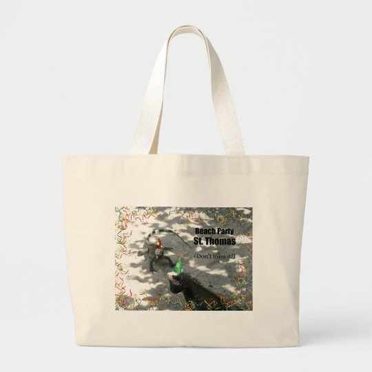Beach Party, St. Thomas, Don't miss it! Large Tote Bag