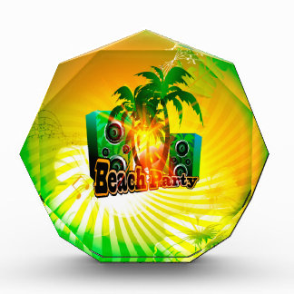 Beach party, tropical design with palm trees award