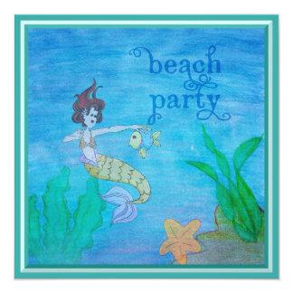 Beach Party Tropical Mermaid 5.25x5.25 Square Paper Invitation Card