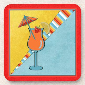 Beach Party Umbrella Citrus Cocktail Beverage Coasters