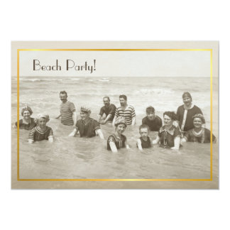 Beach Party vintage photo 5x7 Paper Invitation Card