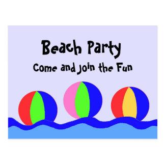Beach Party With Beach Balls Postcard