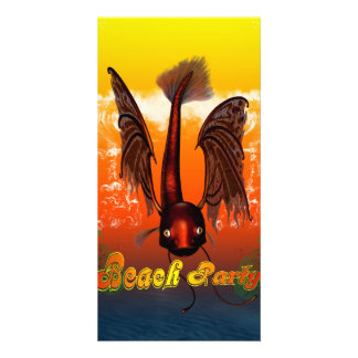 Beach party with funny, mystical  fish personalized photo card