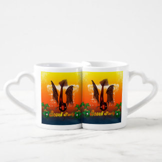 Beach party with funny, mystical  fish lovers mugs