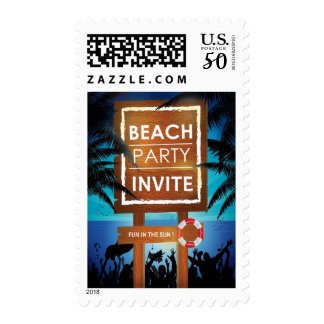 Beach Party Wooden Sign and Ocean Invitation Postage