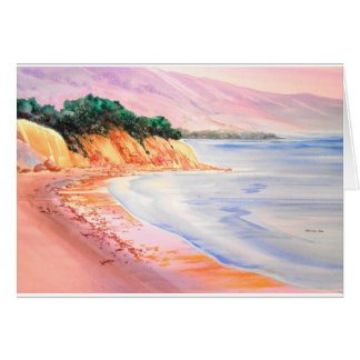 Beach, Pastel and Watercolor Card