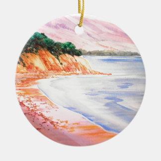 Beach, Pastel and Watercolor Ceramic Ornament