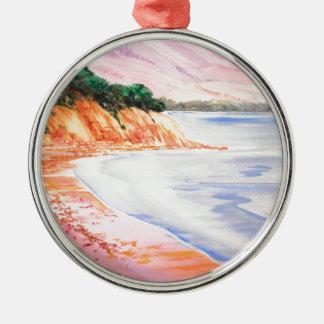 Beach, Pastel and Watercolor Metal Ornament
