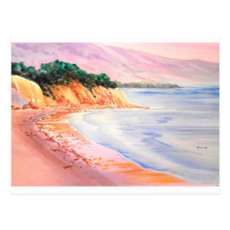 Beach, Pastel and Watercolor Postcard