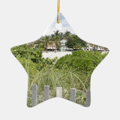 Beach Path Double-Sided Star Ceramic Christmas Ornament