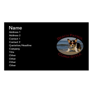 Beach Patrol, Corgi Style Double-Sided Standard Business Cards (Pack Of 100)