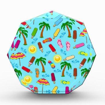 Beach Themed Beach Pattern Acrylic Award