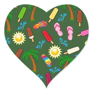 Beach Themed Beach Pattern Heart Sticker