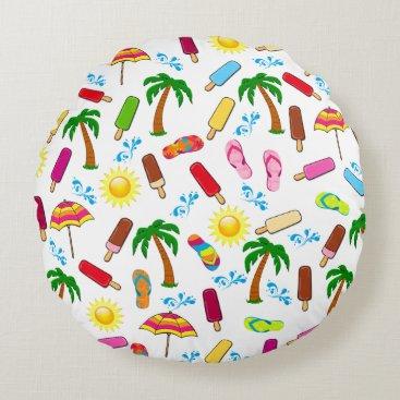 Beach Themed Beach Pattern Round Pillow