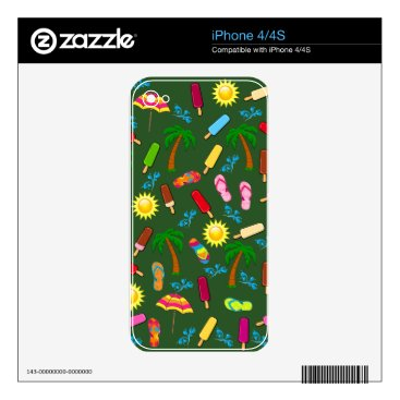 Beach Themed Beach Pattern Skin For The iPhone 4